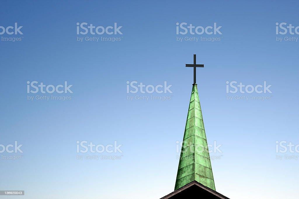 XXL church cross and steeple stock photo