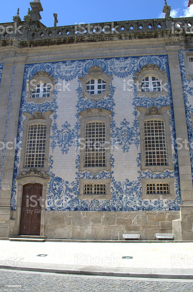 Church decorated with blue tiles in Porto, Portugal royalty-free stock photo