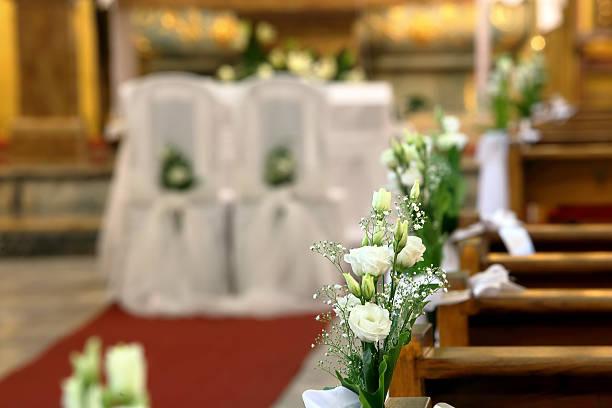 Church decoration before wedding ceremony stock photo