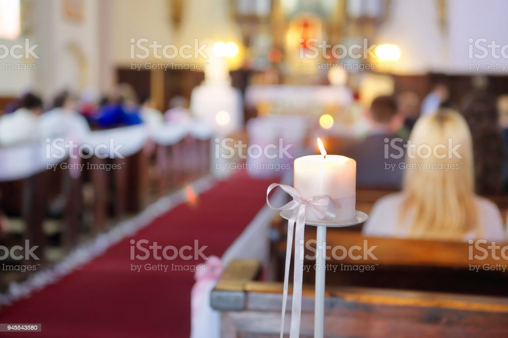 Church decoration before wedding ceremony with space for text stock photo