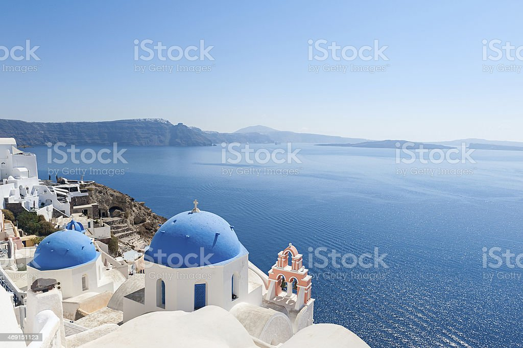 Church domes in Oia Santorini stock photo
