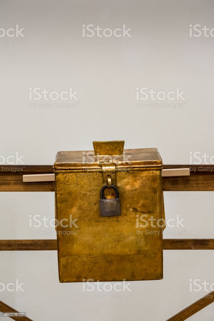 Church Donation Box Russian Metal Lox Petina Coating Old Wooden Spending Money Collection Religious stock photo