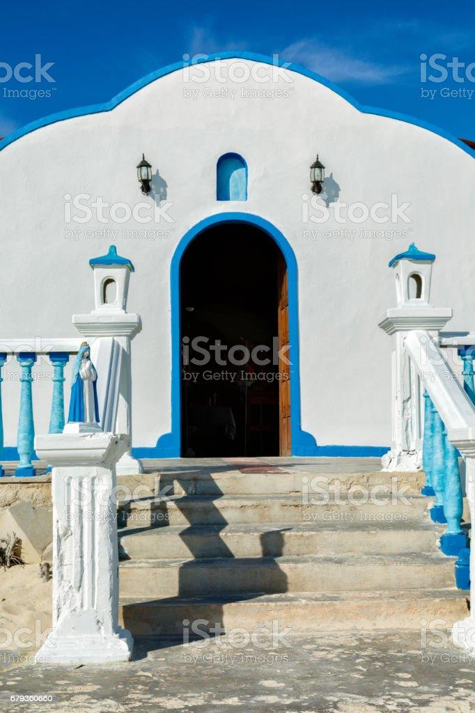 Church facade at  Los Roques town, Venezuela royalty-free stock photo