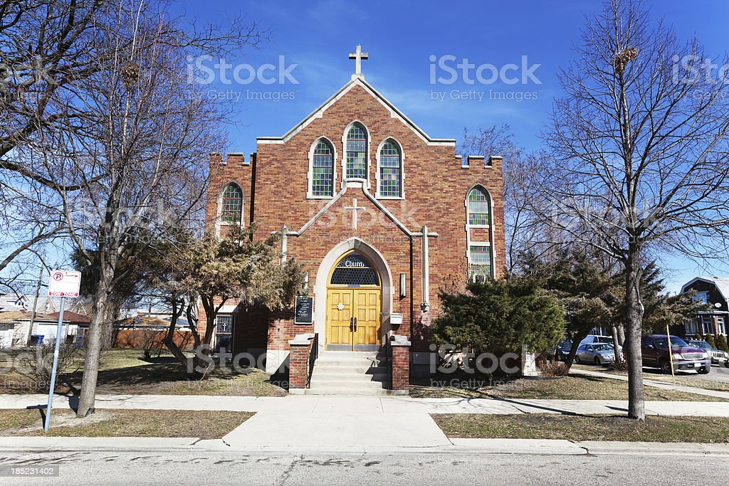 Church Facade in West Lawn, Chicago royalty-free stock photo