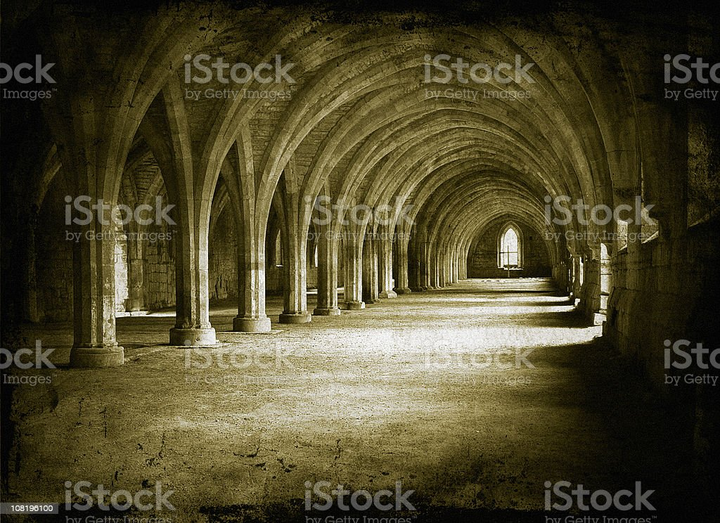 Church Hallway with Gothic Architecture, Toned stock photo