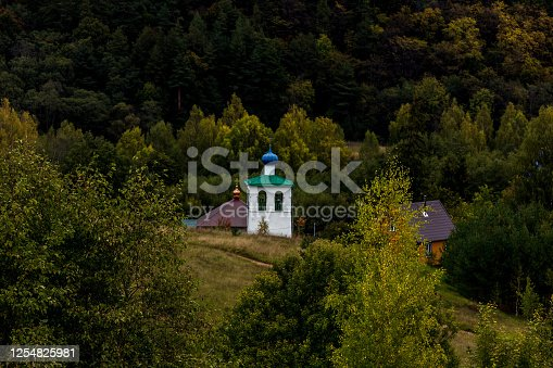 Church in a historical place Izborsk Valley in the Pskov Region