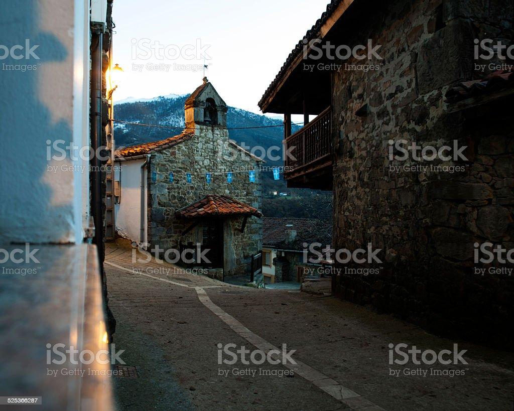 Church in a small rural town in Asturias, Spain stock photo