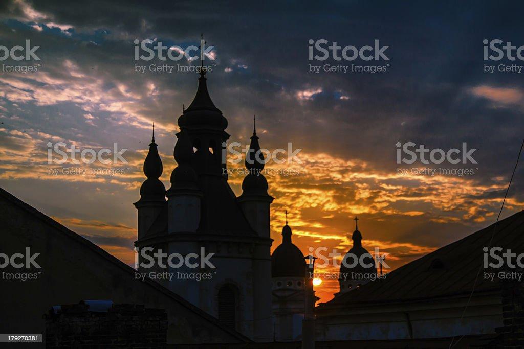 Church in a sunset beams - Lviv, Ukraine royalty-free stock photo