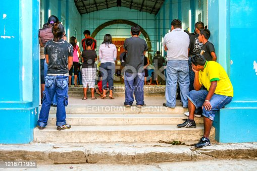 San Felipe Jalapa de Diaz, Oaxaca, Mexico, March 22 -- A view of a Catholic church in the village fo San Felipe in the Miguel Aleman lake in the northern Oaxaca in Mexico. The lake of artificial origin was formed with the construction of the Miguel Alemán dam between the heights of the Cerro de Oro. This community maintains traditions and lifestyles related to environmental conservation and sustainability.