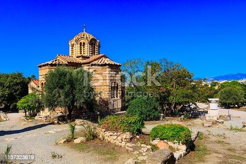 istock Church in Ancient Agora, Athens, Greece 1137323619