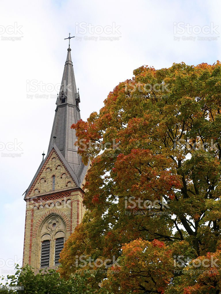 Church in autumn royalty-free stock photo