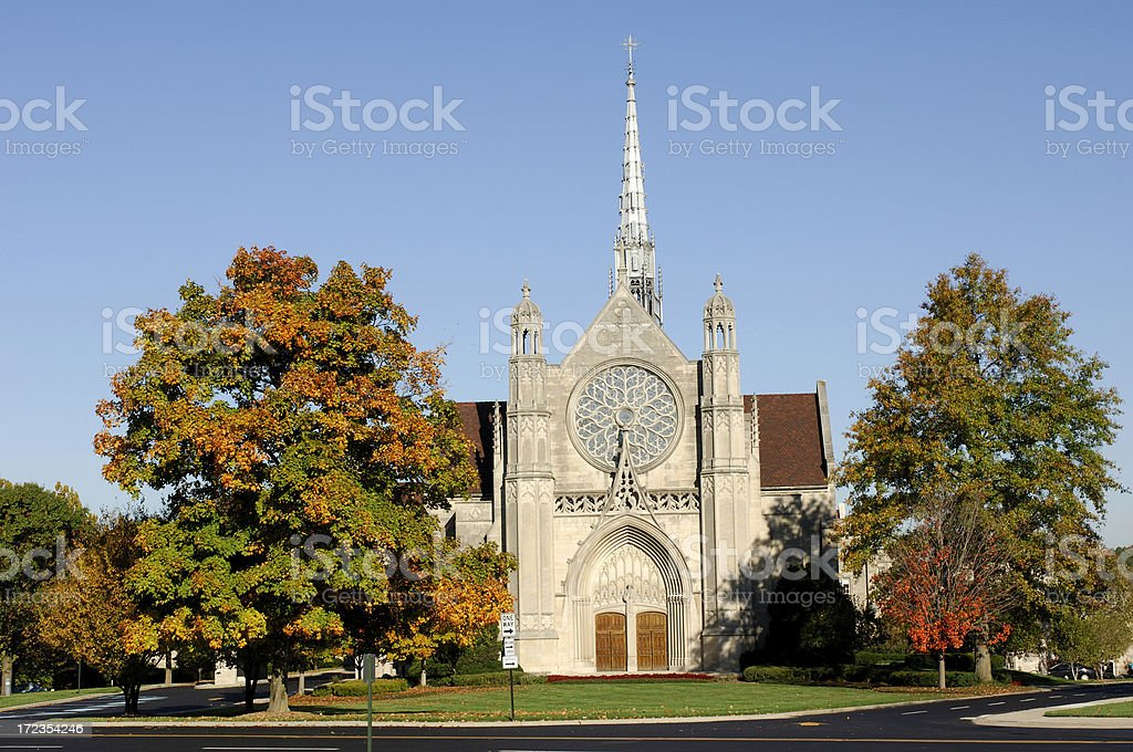 Church in Autumn Sunlight stock photo