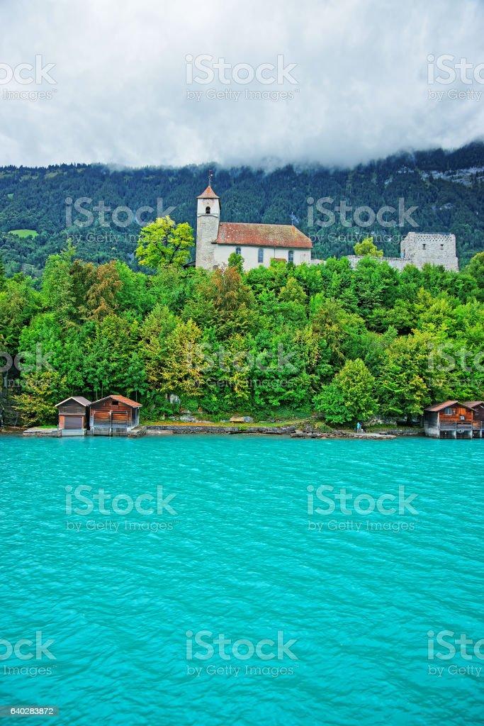 Church in Brienz Lake and Brienzer Rothorn mountain Bern Switzerland stock photo