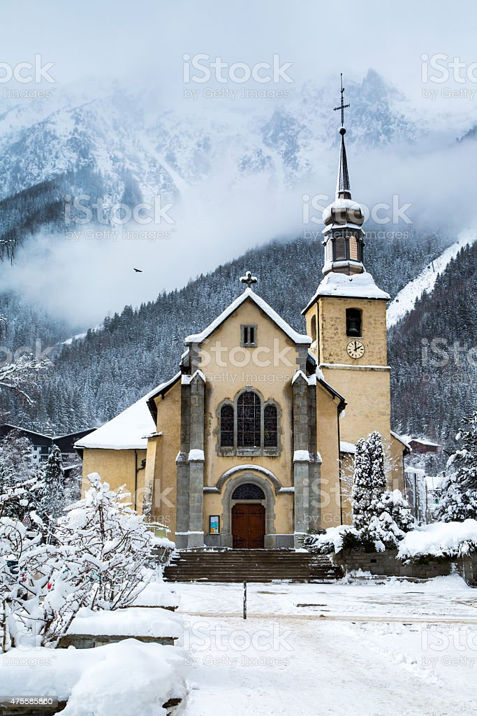 Church in Chamonix town, France stock photo