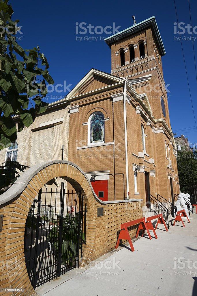 Church in Chicago Chinatown stock photo