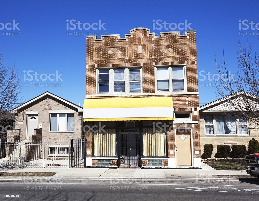 Church in Converted Shop, West Elsdon, Chicago royalty-free stock photo