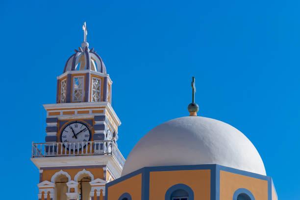 Church in Fira village in Santorini stock photo