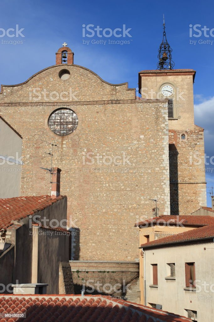 church in french village of Thuir in Pyrenees orientales stock photo