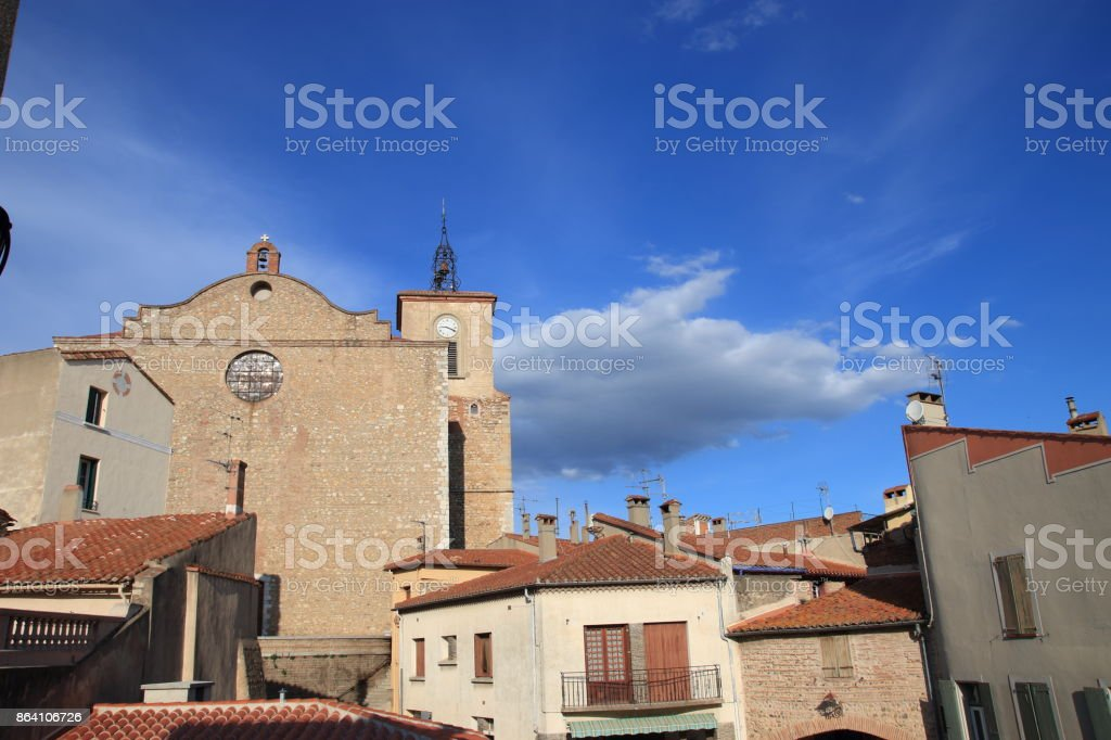 church in french village of Thuir in Pyrenees orientales royalty-free stock photo