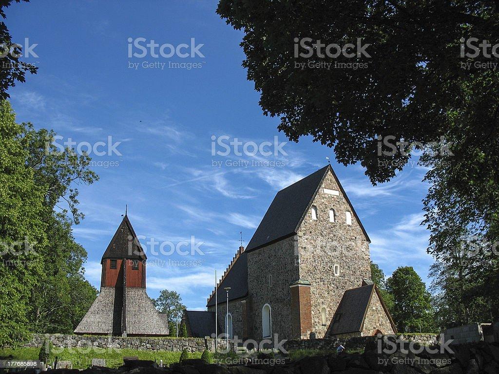 Church in Gamla Uppsala stock photo