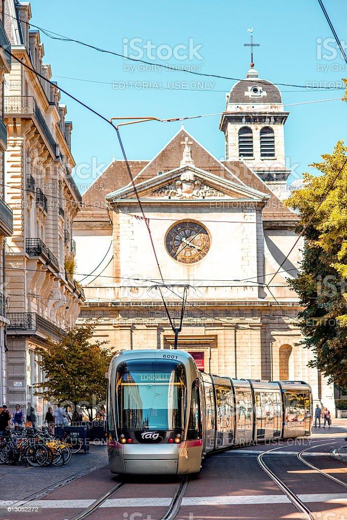 Church in Grenoble city stock photo