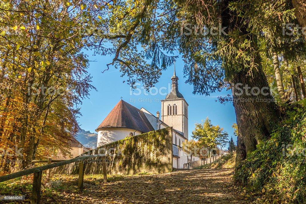 church in gruyeres village, fribourg canton, switzerland stock photo