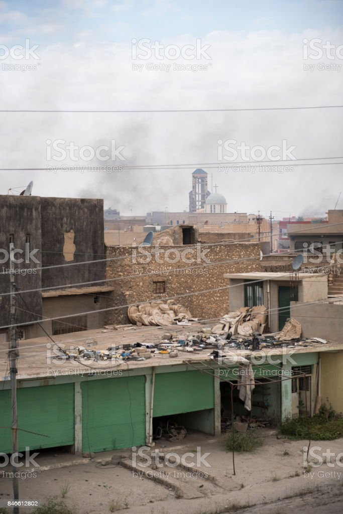 Church in Iraqi Christian town of Qaraqosh stock photo