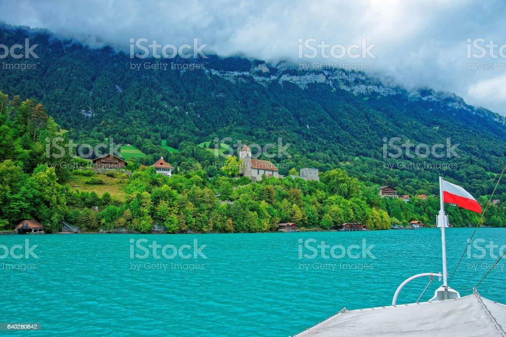 Church in Lake Brienz and Brienzer Rothorn mountain Bern Swiss stock photo