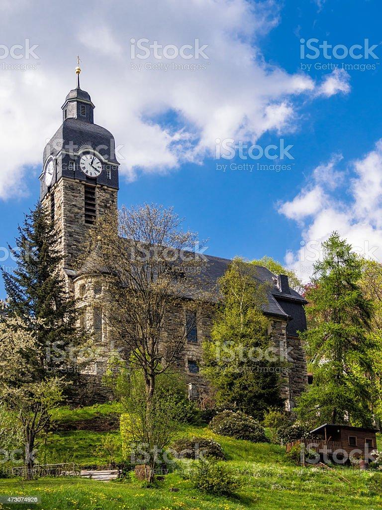 Church in Lauscha stock photo