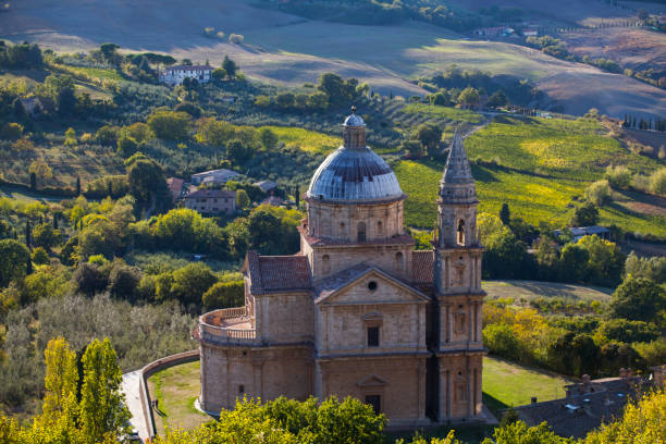 Church in Montepulcioano, Tuscany stock photo