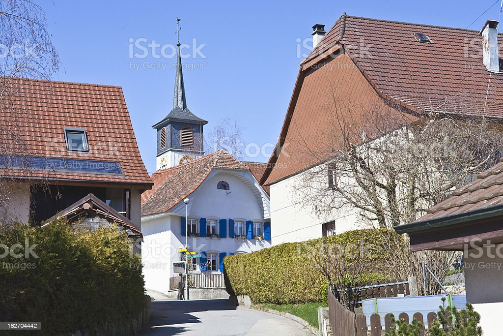 Church in Nuvilly, Fribourg, Switzerland, Spring royalty-free stock photo
