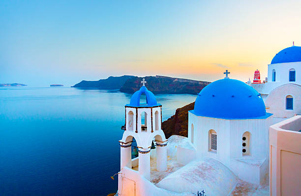 church in oia on santorini island, greece - international landmark stock photos and pictures