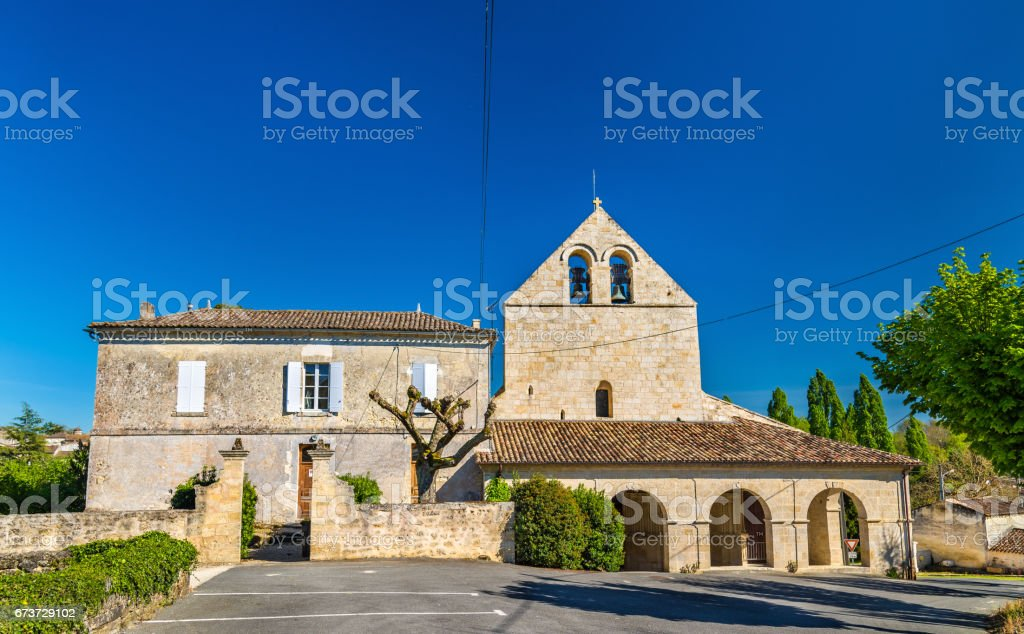 Church in Rauzan village in France photo libre de droits