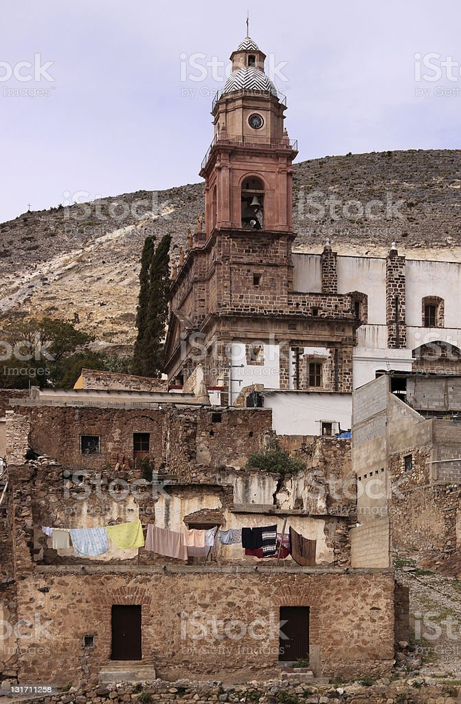 Church in Real de Catorce View of the church Parish of Immaculate Conception (Templo de la Purisima Concepcion) in Real de Catorce, San Luis Potosi, Mexico. Ancient Stock Photo