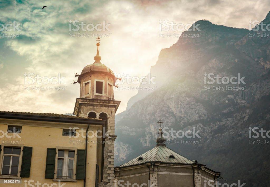 Church in Riva del Garda stock photo