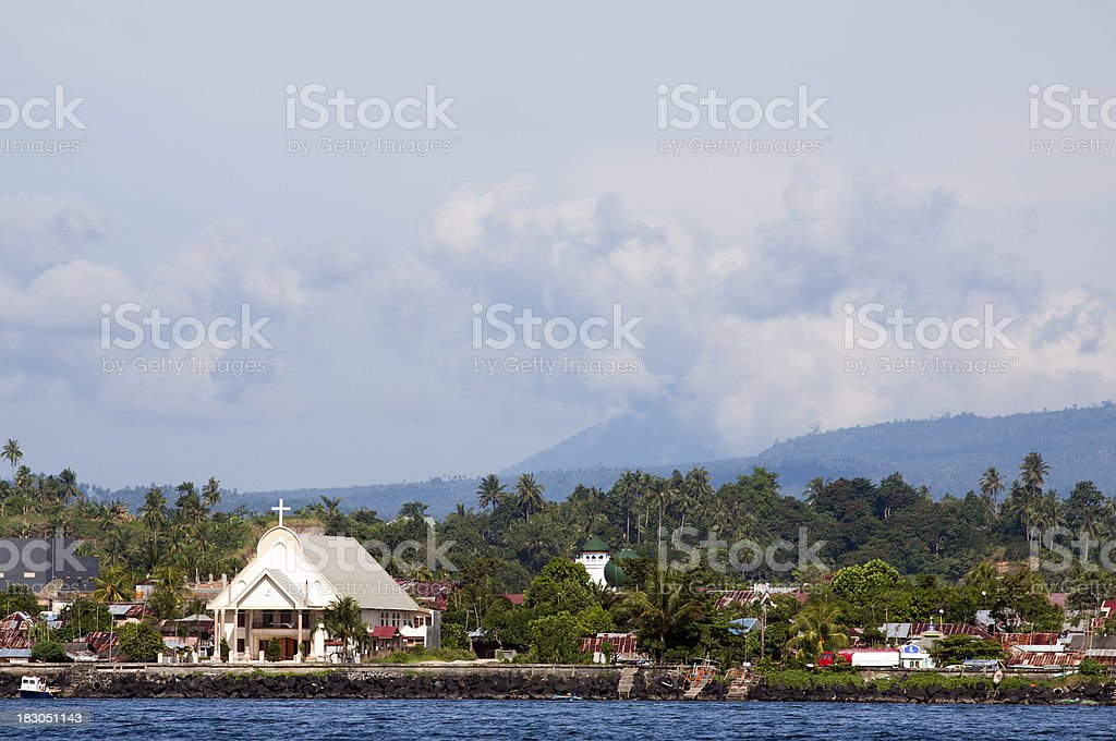 Church in rural settlement, Indonesia stock photo
