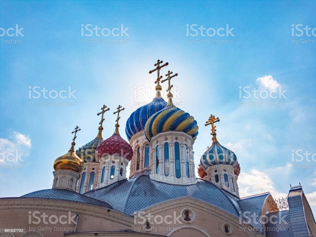 Church in Russia on sunny day stock photo