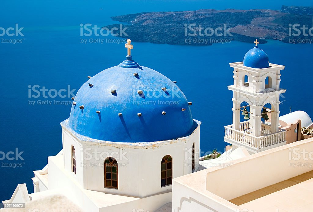 Church in Santorini, Greece stock photo