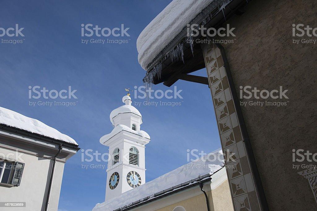 Church in Sils Maria stock photo