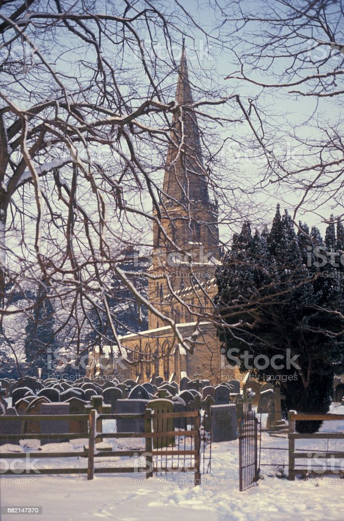 Church in snow stock photo