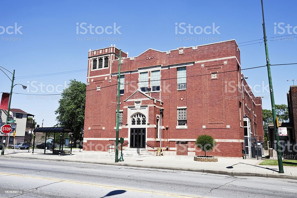 Church in South Deering, Chicago royalty-free stock photo