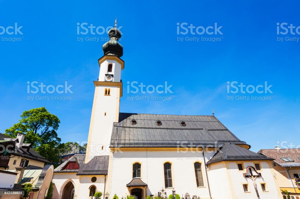 Church in St. Gilgen stock photo