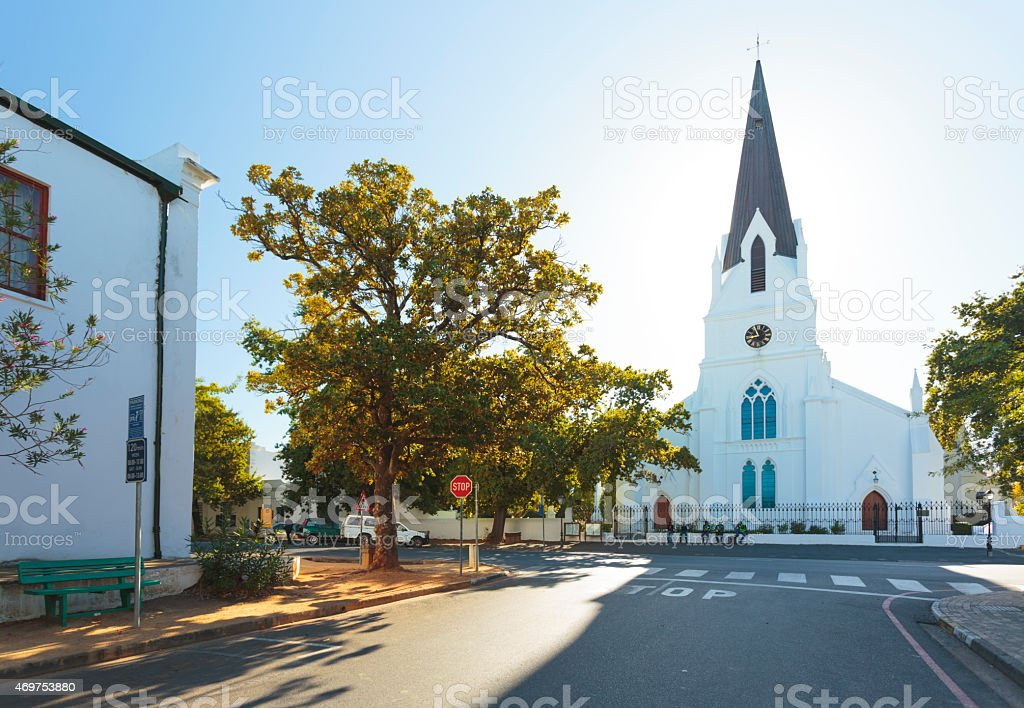 Church in Stellenbosh, South Africa stock photo