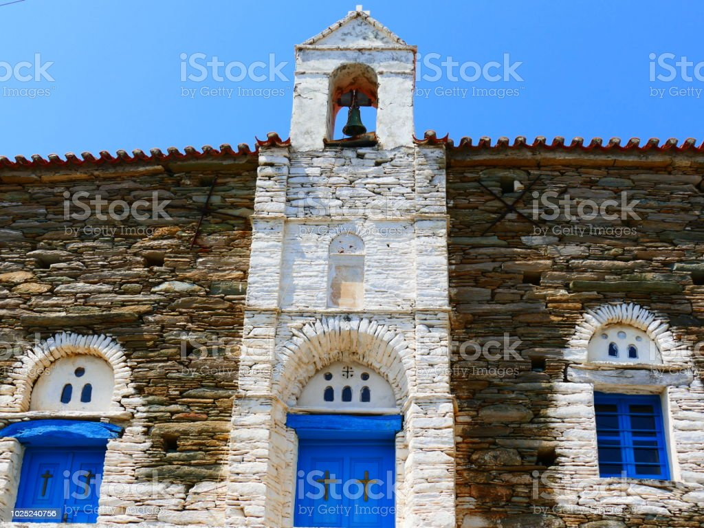 Church in Strapouries, Andros island, Greece stock photo