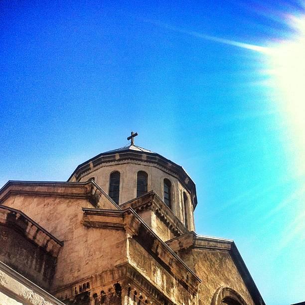 church in sunlight stock photo