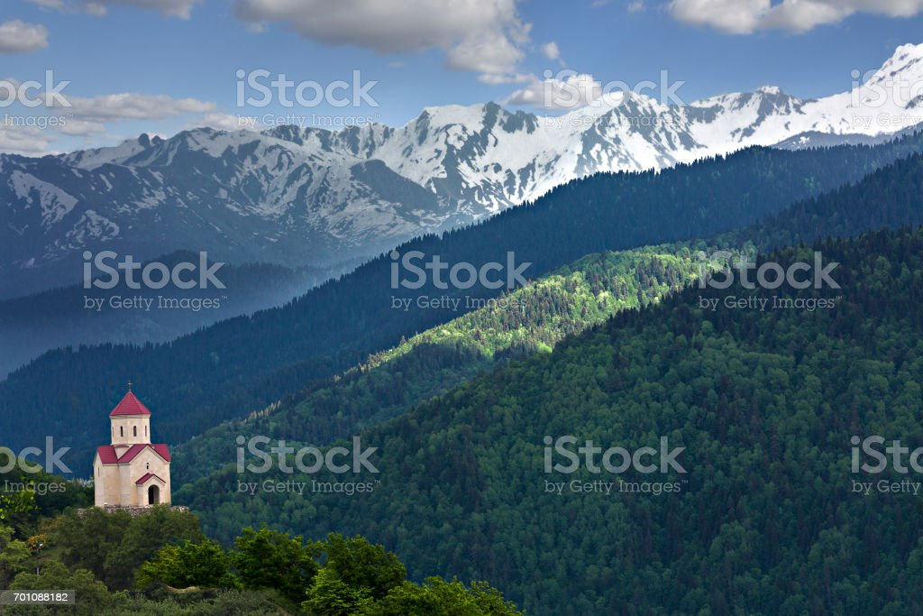 Church in the Caucasus Mountains in Georgia stock photo