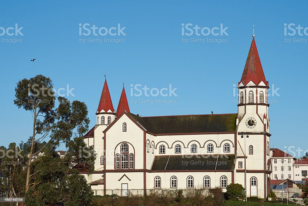 Church in the Chilean Lake District stock photo