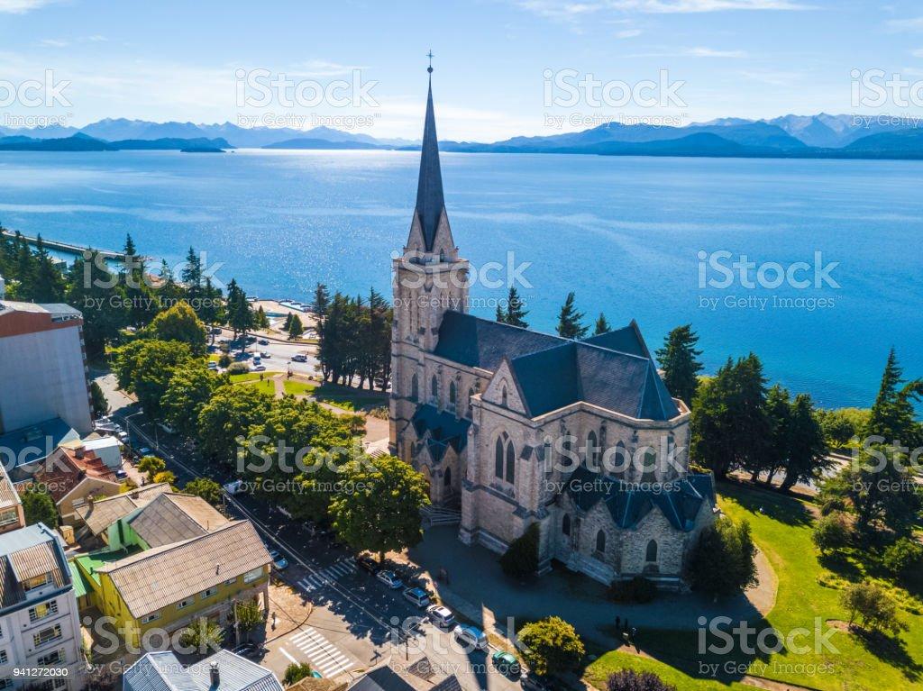 Church in the city of Bariloche stock photo