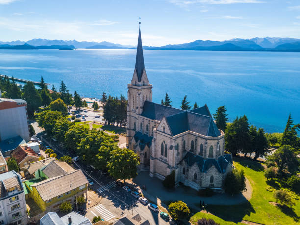 Church in the city of Bariloche stock photo