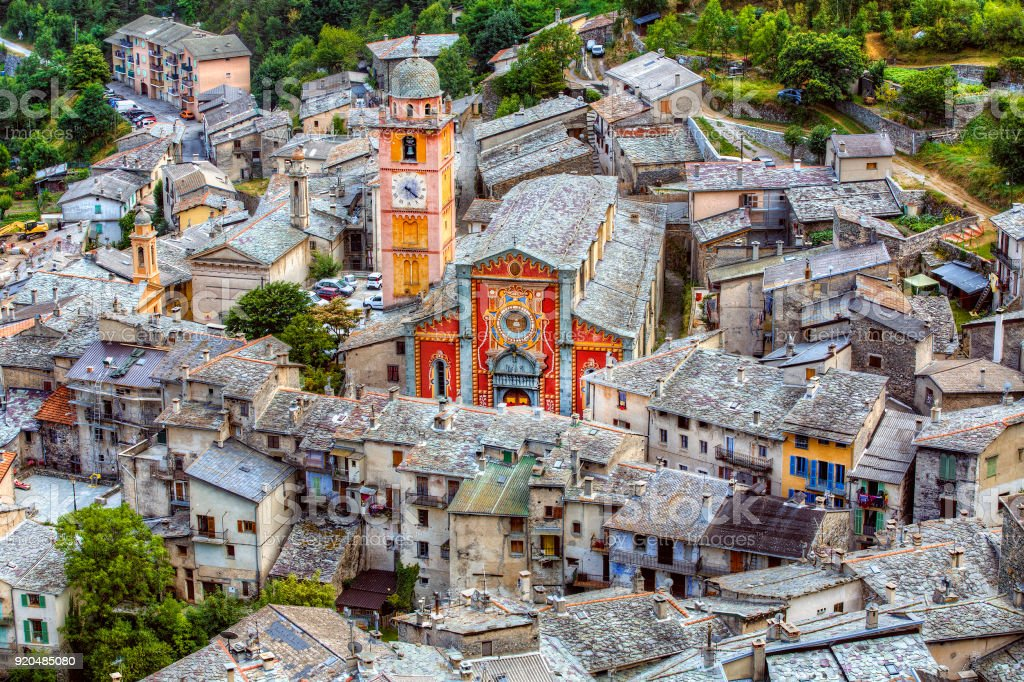 Church in the City of Tende, Alpes-Maritimes, Provence, France stock photo